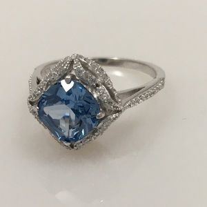 Sterling Silver Created Blue Topaz Ring